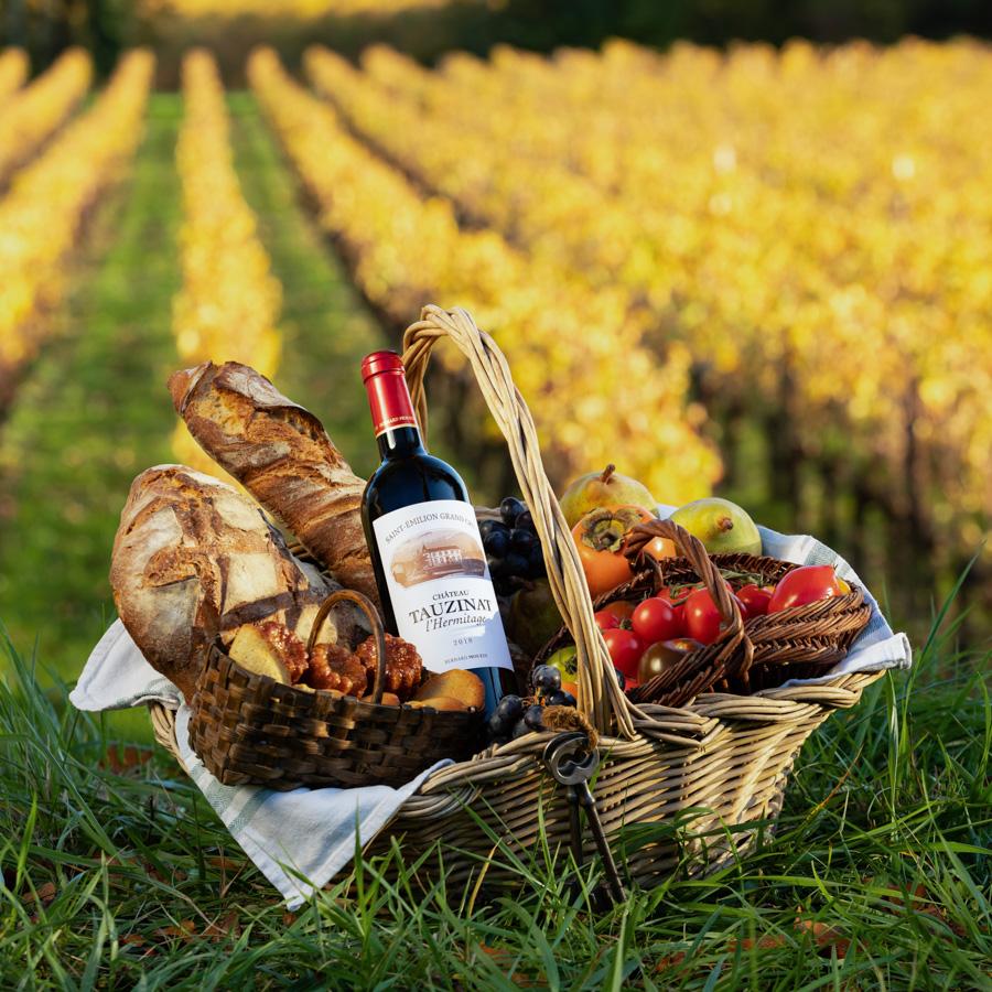 Photo publicitaire d'un panier de pic nic avec une bouteille de vin dans les vignes